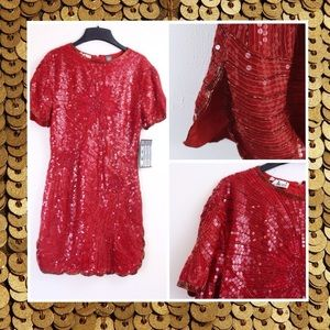 Vintage Modi Red Sequin Mini Dress Holiday Party M